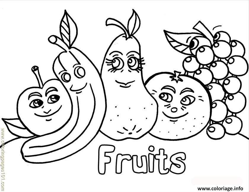 Coloriage famille de fruits dessin - Dessins fruits ...