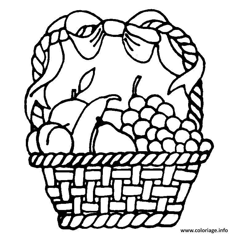 Dessin panier de fruits raisins bananes poires Coloriage Gratuit à Imprimer