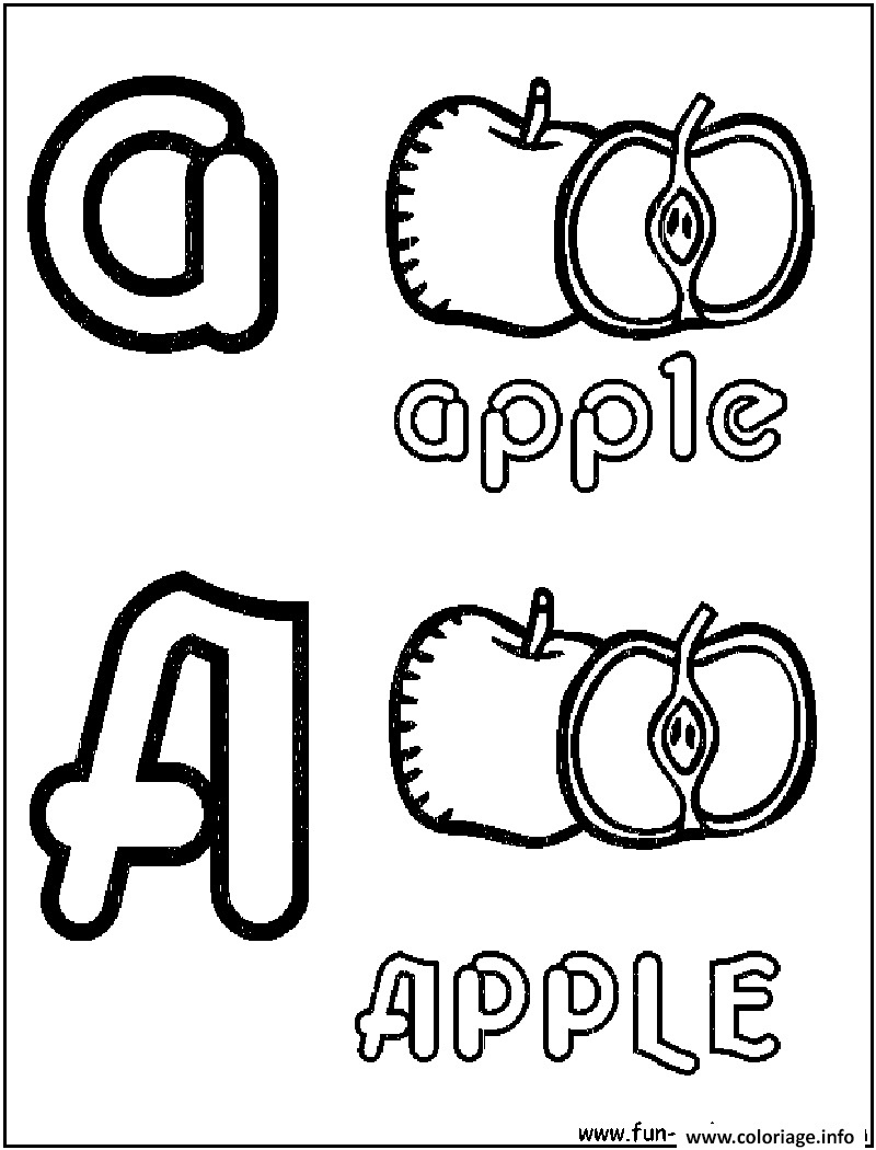 Coloriage apple pomme alphabet dessin - Dessin pomme apple ...