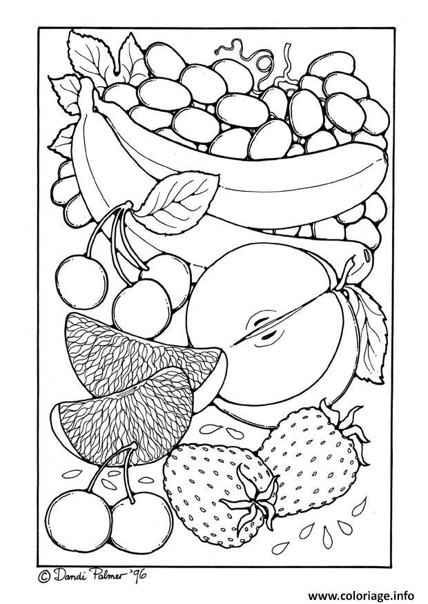 Dessin portrait de fruits Coloriage Gratuit à Imprimer