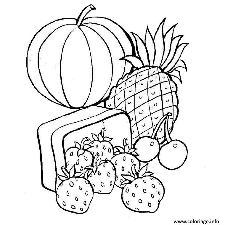 Coloriage Fruits Tropicaux.Coloriage Fruits Exotiques Dessin