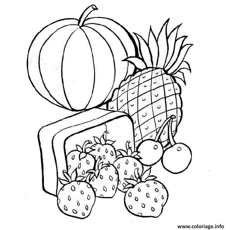 Dessin fruits exotiques Coloriage Gratuit à Imprimer