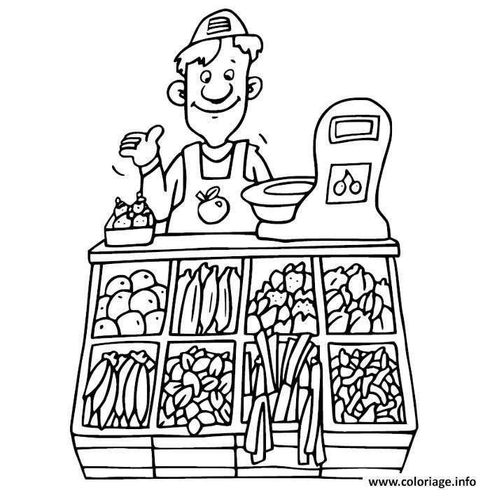 Coloriage Maternelle Fruits Et Legumes.Coloriage Vendeur Fruits Et Legumes Dessin