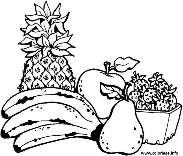Coloriage Panier De Fraises.Coloriage Annana Banane Pomme Fraises Fruits Jecolorie Com