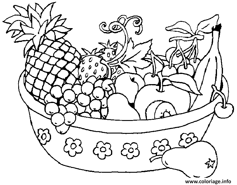 Coloriage panier de fruits dessin - Fruits a colorier et a imprimer ...