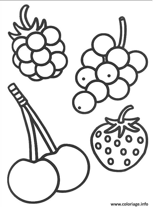 Dessin 4 petits fruits Coloriage Gratuit à Imprimer