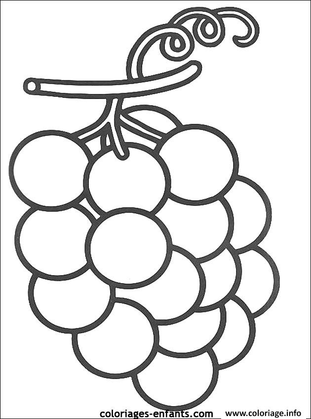 Coloriage fruit raisins dessin - Dessins fruits ...