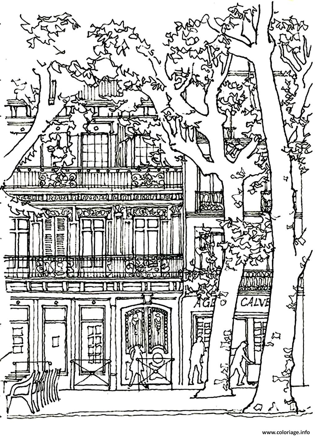 Coloriage architecture maison arbre dessin for Pages for windows