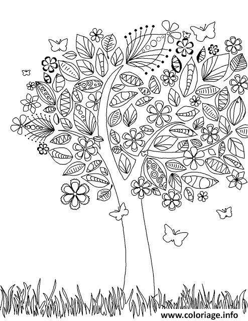 Dessin arbre en fleurs Coloriage Gratuit à Imprimer