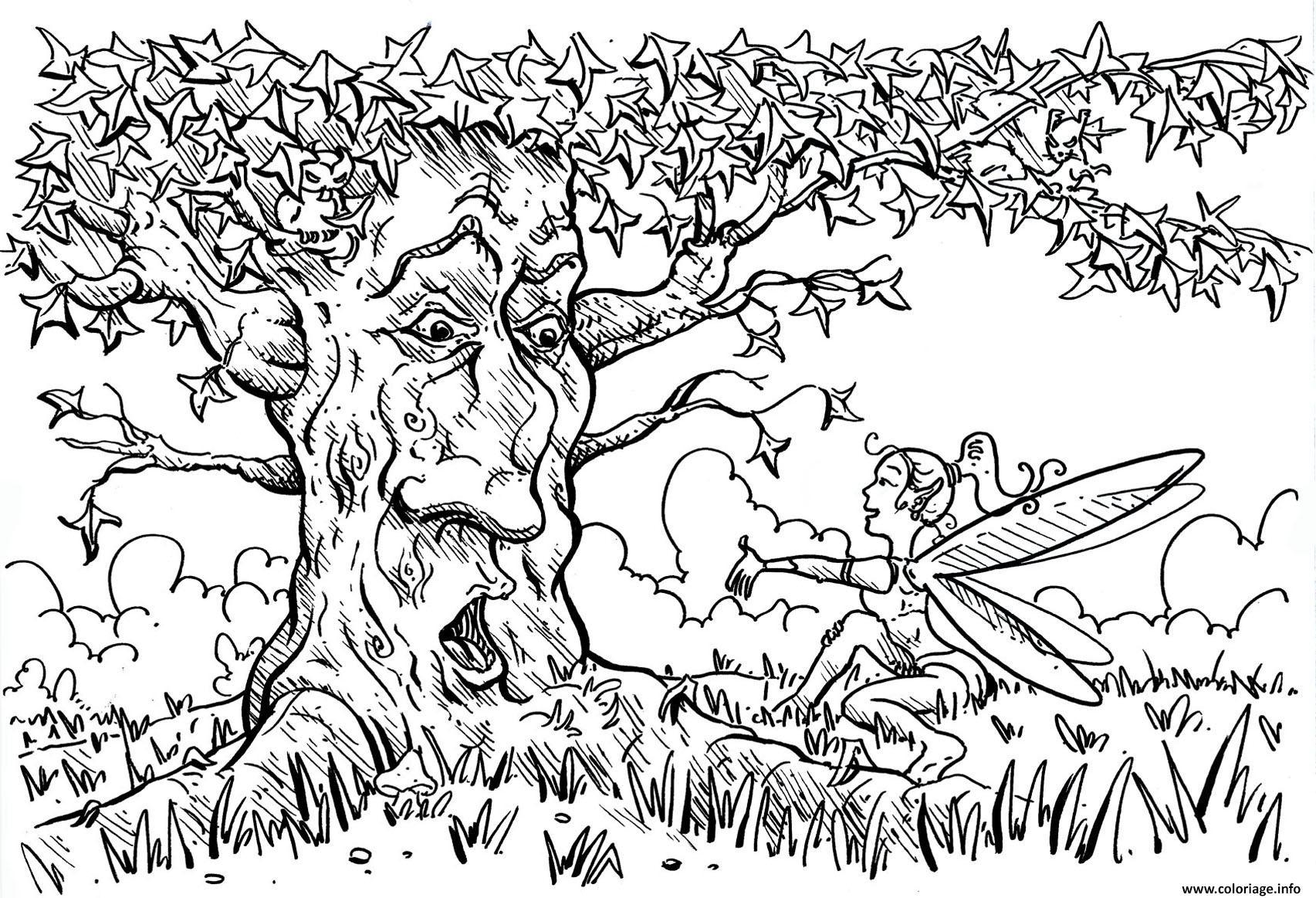 Coloriage pour adultes arbre dessin - Coloriages adultes ...