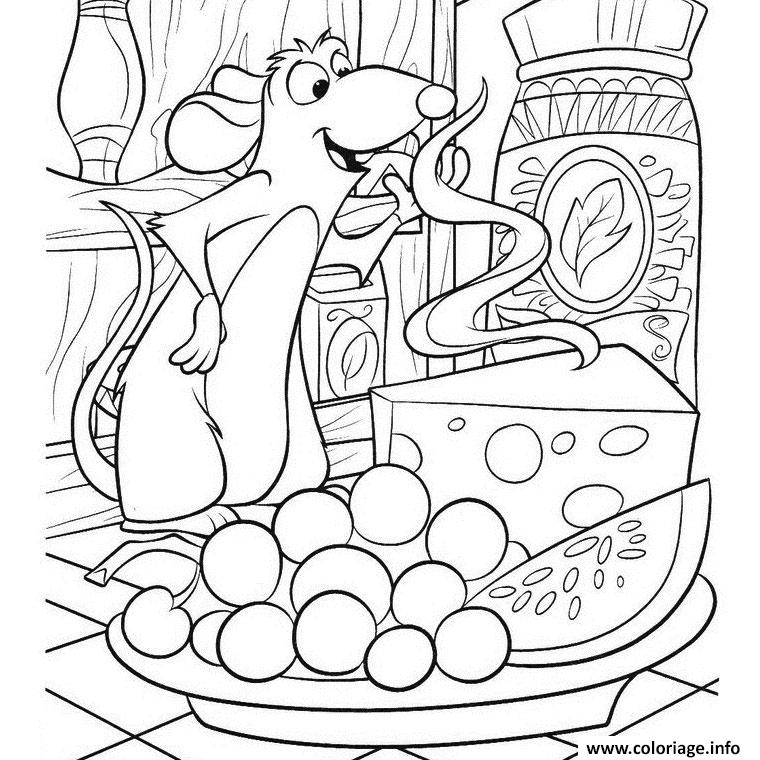 Coloriage Souris Fromage Dessin