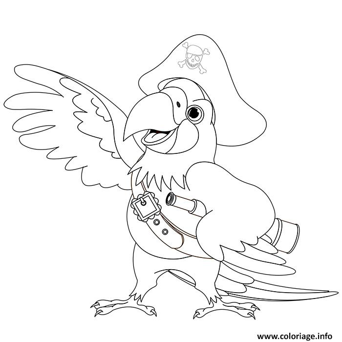 Coloriage de perroquet de pirate - Tete de pirate dessin ...