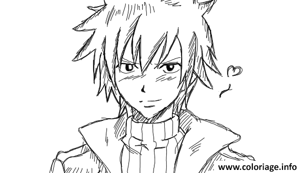 Coloriage grey by fairy tail by yazuhiro d5b6e0n dessin - Comment dessiner natsu ...