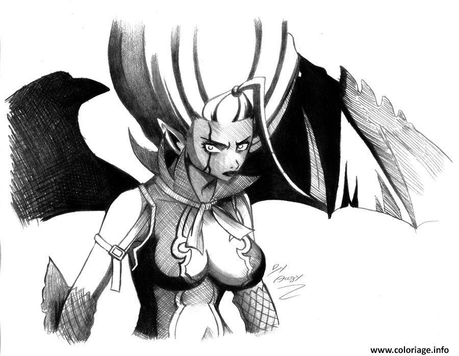 Dessin fairy tail mirajane demon by angy89 d2yg7hq Coloriage Gratuit à Imprimer
