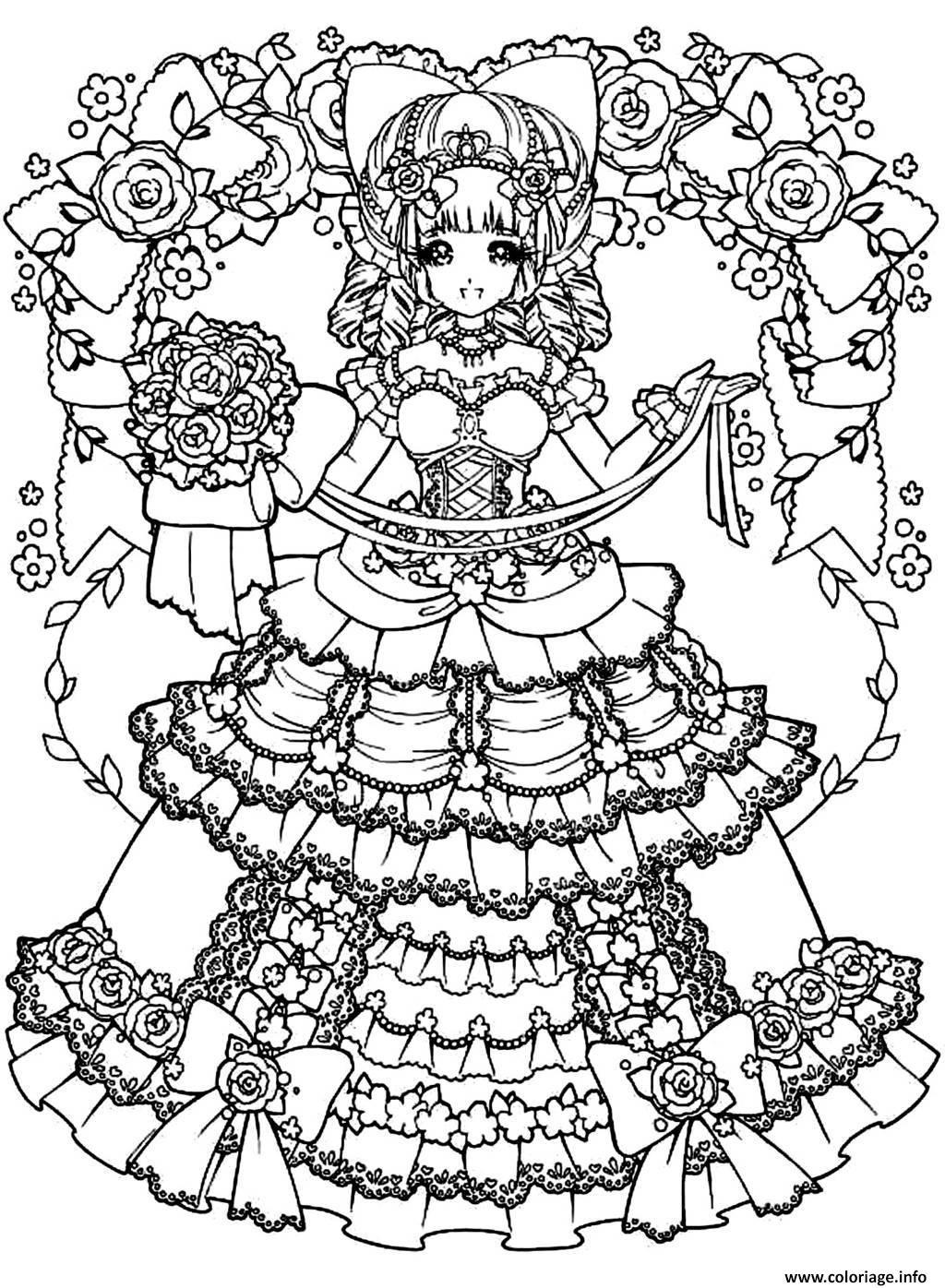 coloriage adult back to childhood manga girl dress dessin. Black Bedroom Furniture Sets. Home Design Ideas