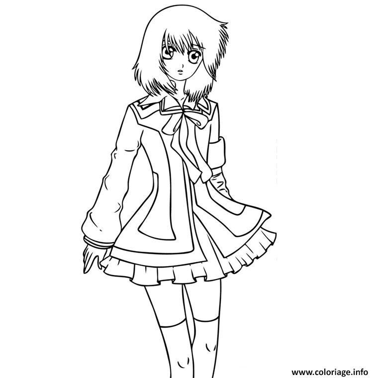 Coloriage Fille Manga 32 Dessin