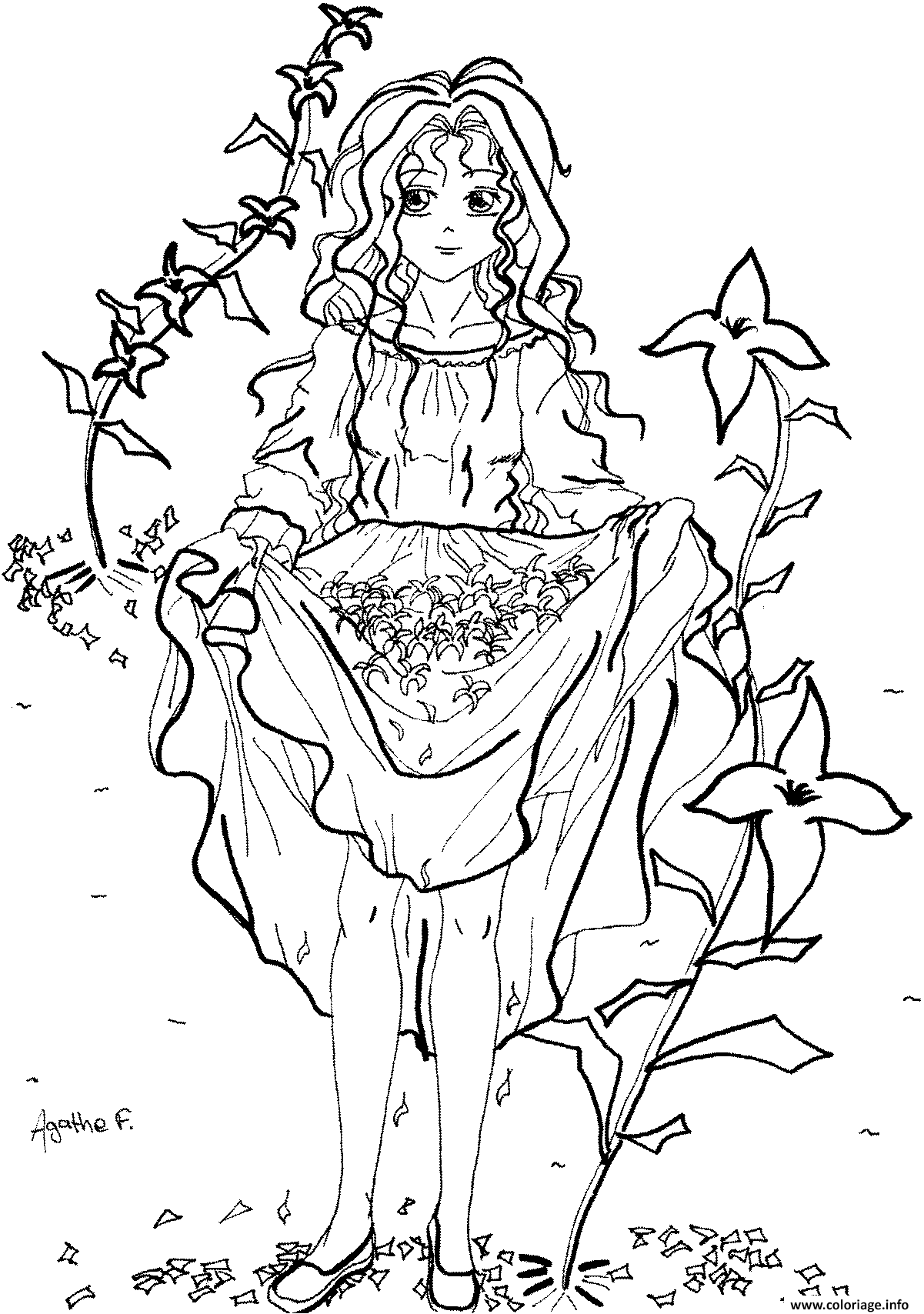 Coloriage Fille Manga 6 dessin