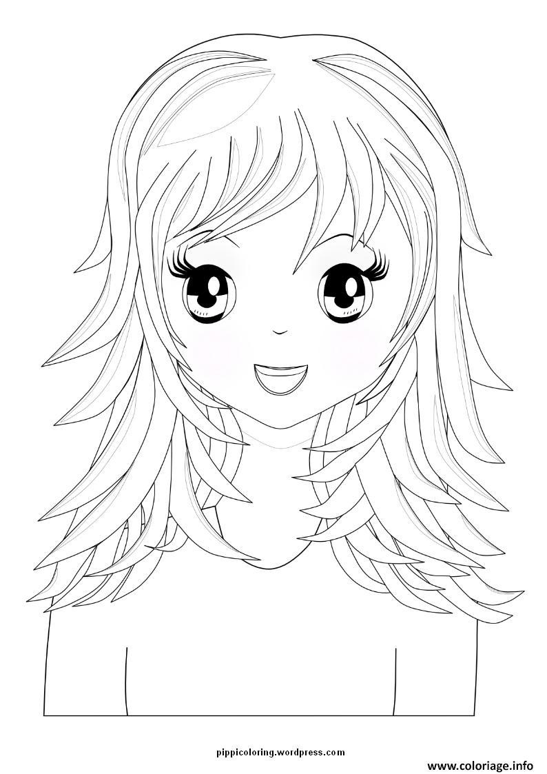 Coloriage Fille Manga 38 Jecolorie Com