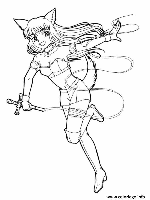Coloriage Fille Manga Chat Jecolorie Com