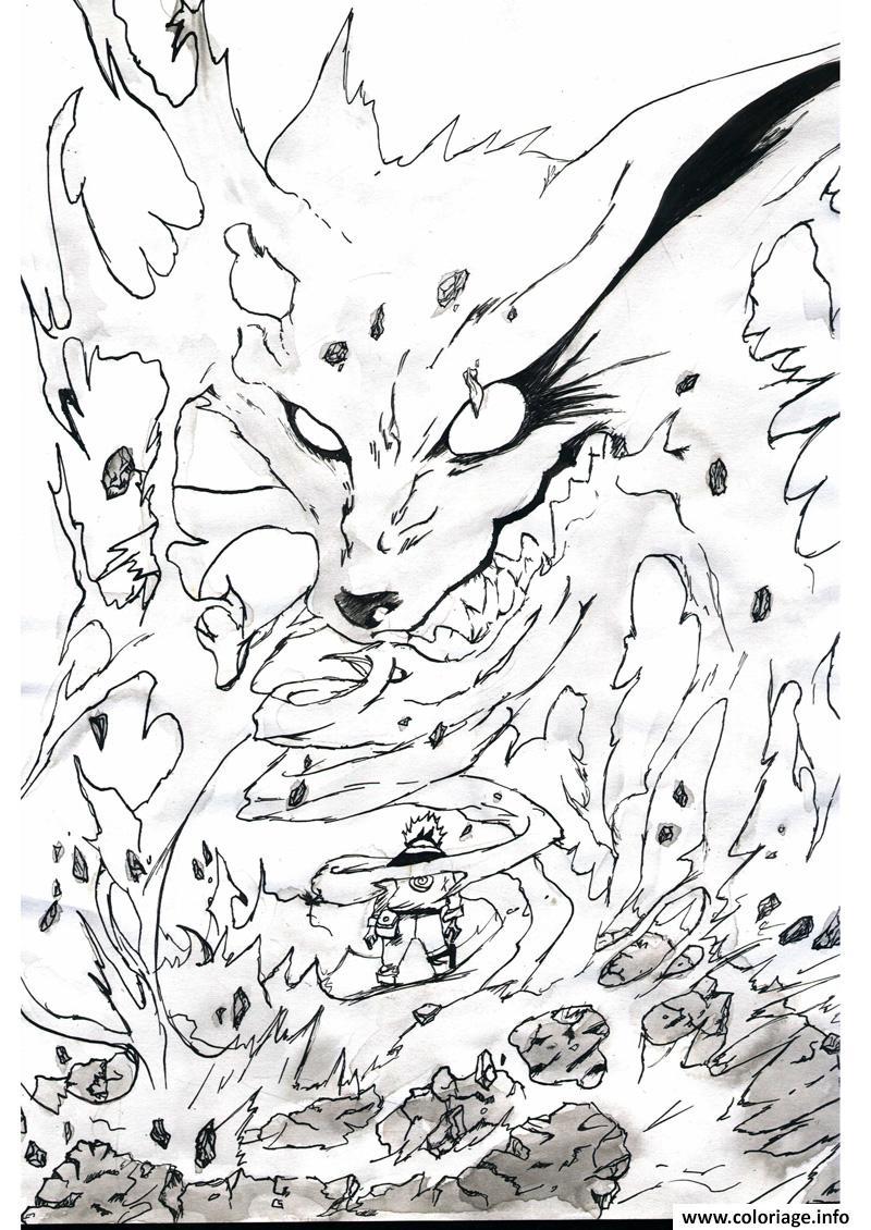 Coloriage Manga Naruto Kyubi 16 dessin