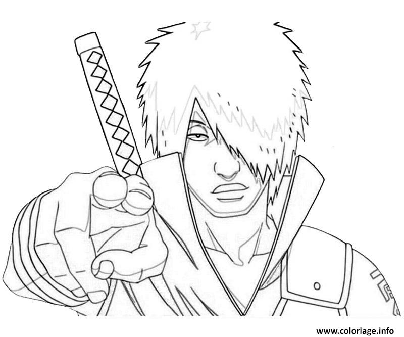 Coloriage Manga Naruto Sasuke 292 Dessin