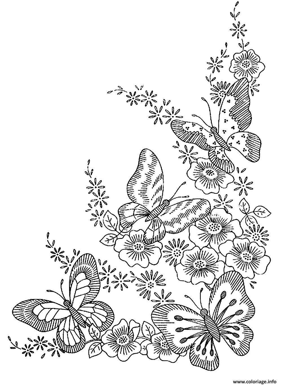 Coloriage Adulte Difficile Papillons Dessin