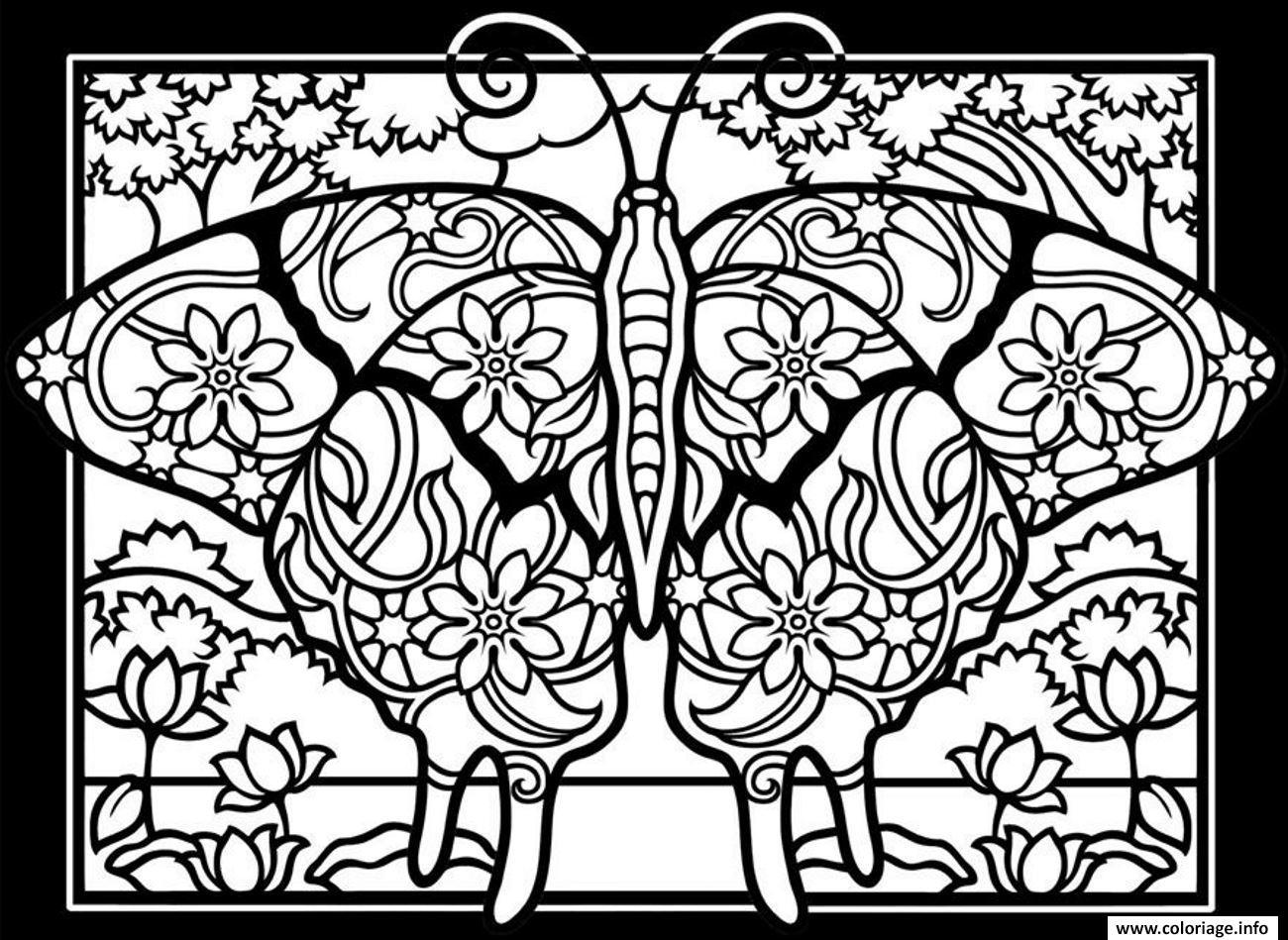 Coloriage Adulte Fond Noir.Coloriage Adulte Difficile Papillon Fond Noir Jecolorie Com