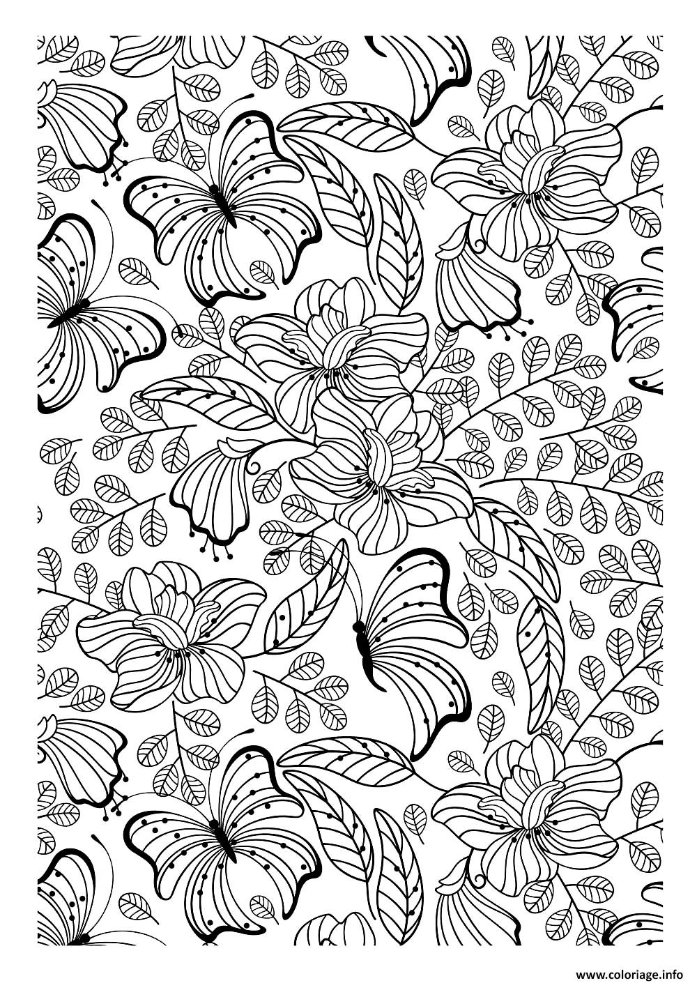 coloriage adulte papillons dessin