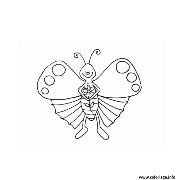 Coloriage papillon rigolo dessin - Papillon image dessin ...