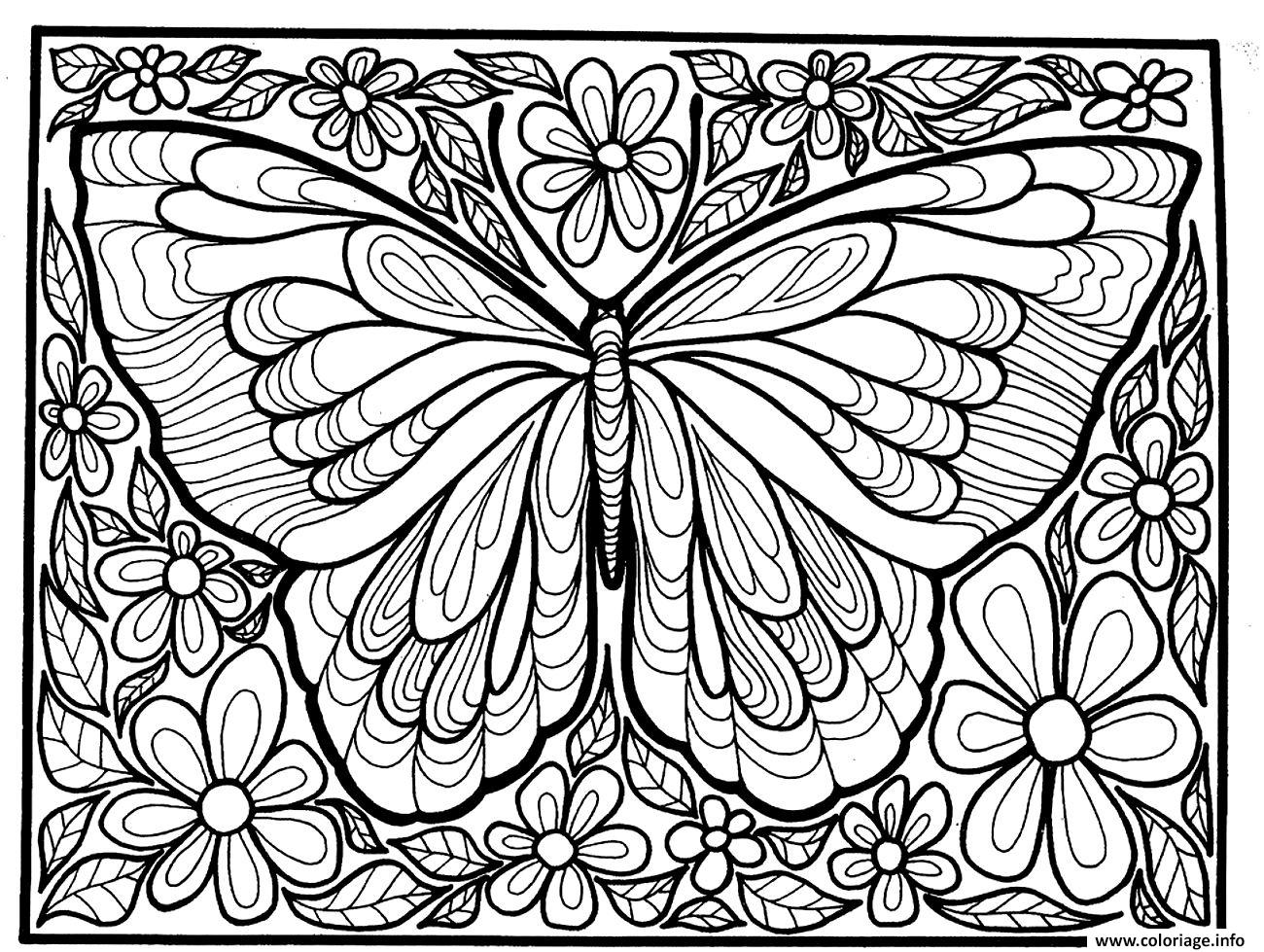 Coloriage adulte difficile grand papillon dessin - Grand dessin a colorier ...