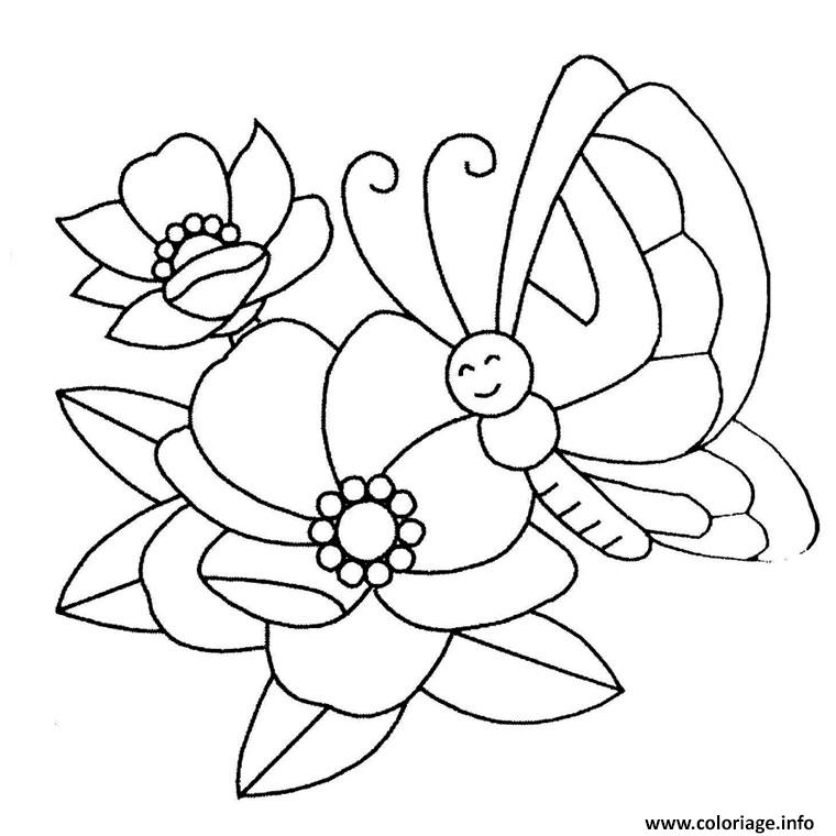 coloriage papillon et fleur dessin