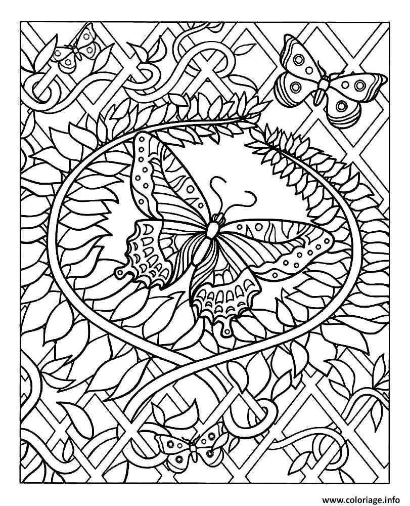 Coloriage difficile papillon dessin - Dessin de petit papillon ...