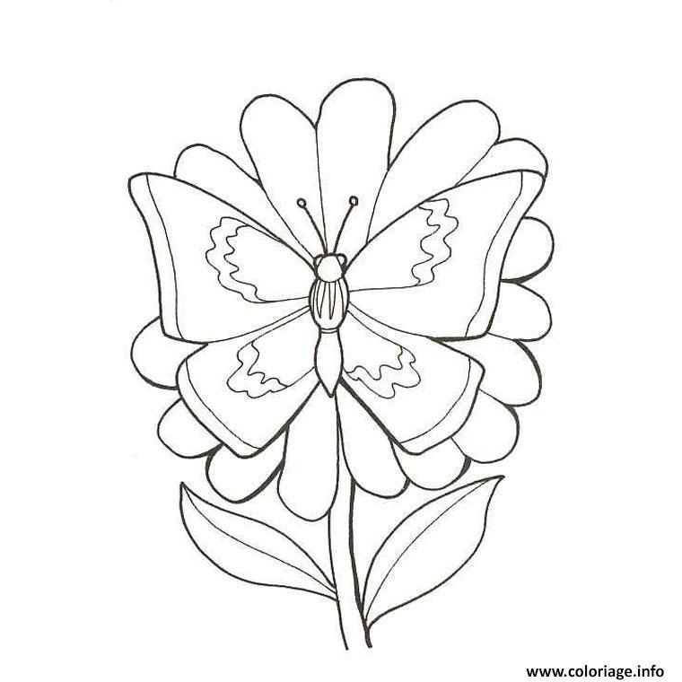 Coloriage fleur papillon dessin - Coloriage de fleur ...