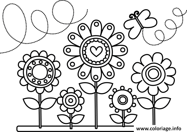 Coloriage Fleur.Coloriage Fleurs Et Papillons Dessin