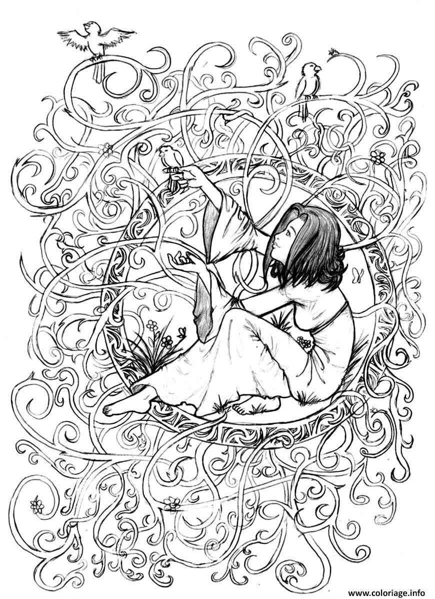 coloriage adulte zen anti stress a imprimer princesse enfermee dessin imprimer - Coloriage Imprimer Adulte