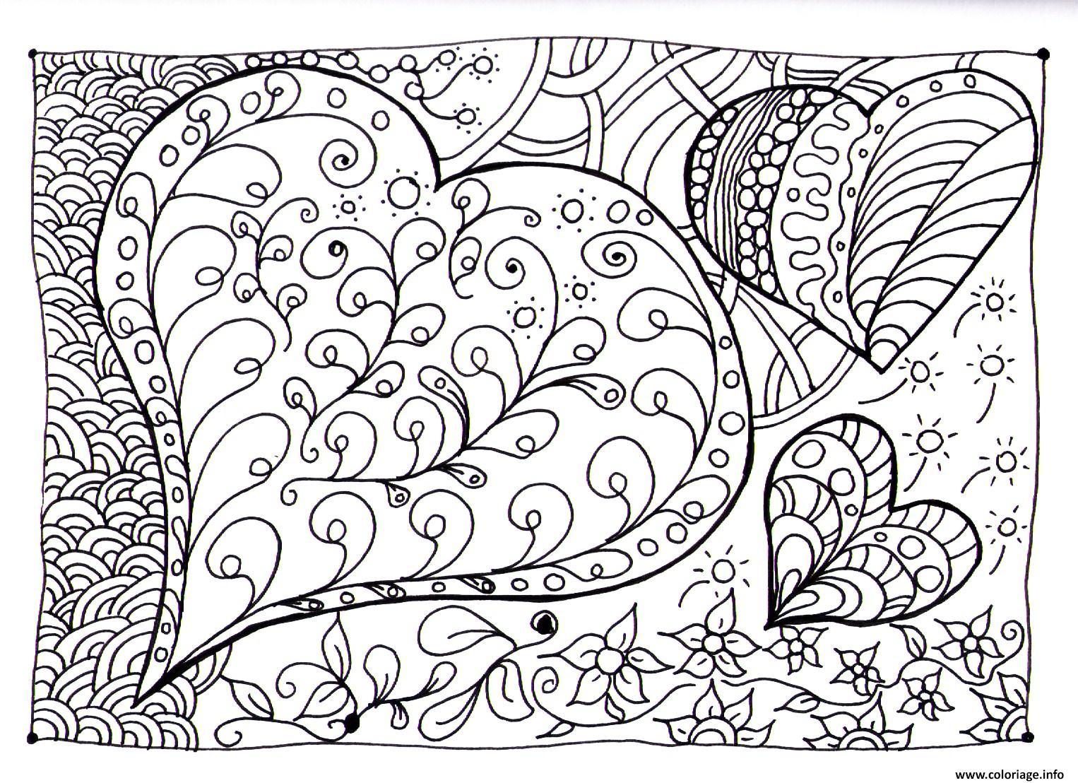 Coloriage Coeur Zen dessin