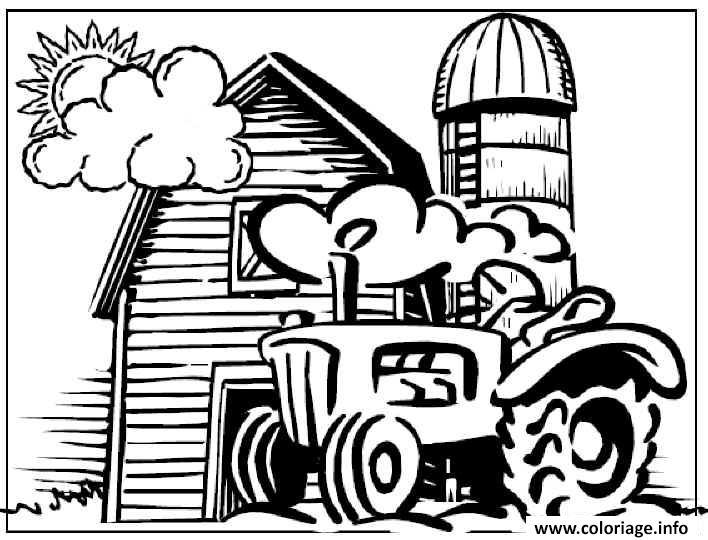 Coloriage De Ferme Avec Tracteur A Imprimer.Coloriage Tracteur Devant La Ferme Dessin