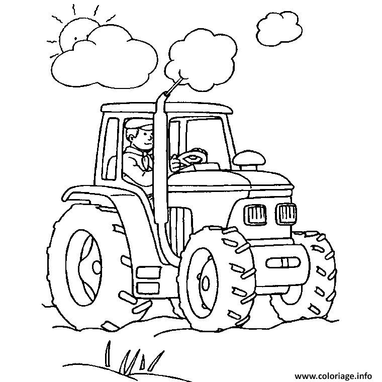 Coloriage Ferme Et Tracteur Jecolorie Com
