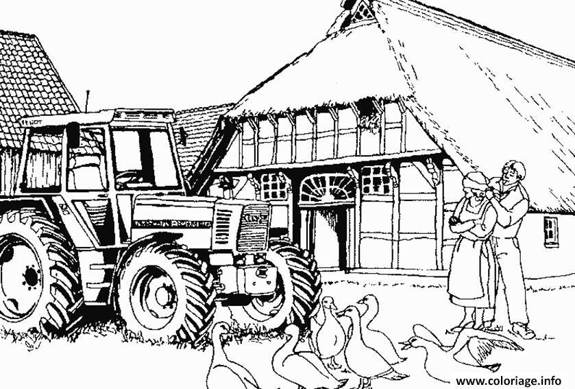 Dessin adulte tracteur ferme couple Coloriage Gratuit à Imprimer