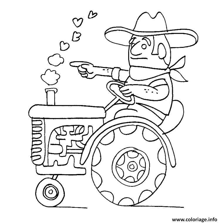 Dessin tracteur avec fourche Coloriage Gratuit à Imprimer