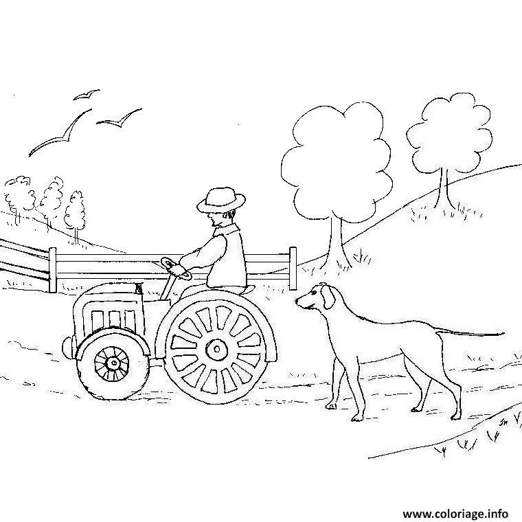 Coloriage tracteur de ferme dessin - Coloriage en ligne tracteur ...