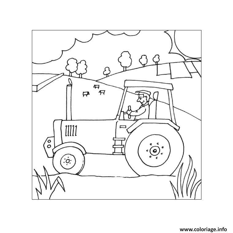 Coloriage Tracteur Agricole Dessin