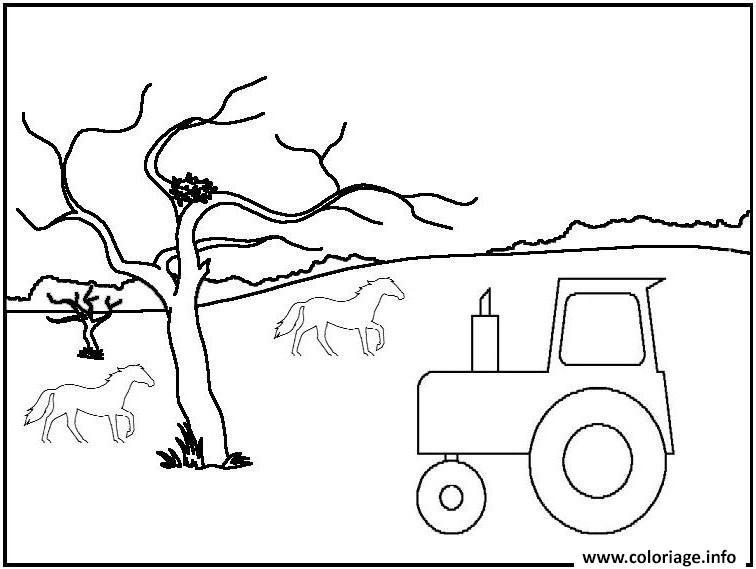 tracteur arbre cheval coloriage
