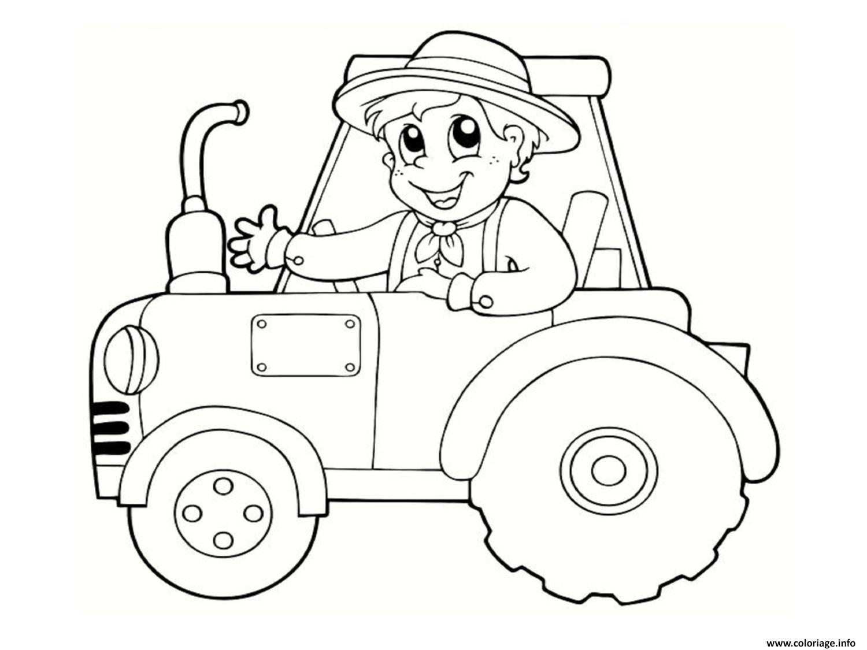 Coloriage un fermier heureux sur son tracteur dessin - Coloriage en ligne tracteur ...
