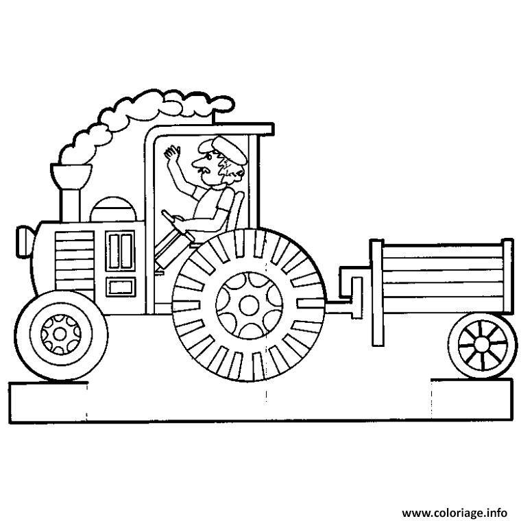 Coloriage tracteur avec remorque dessin - Jeu de tracteur agricole gratuit ...