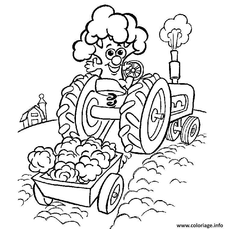 tracteur et remorque coloriage