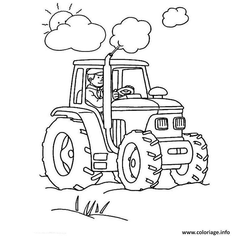 Dessin tracteur soleil nuage Coloriage Gratuit à Imprimer