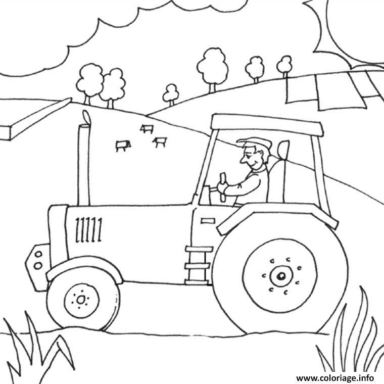 Coloriage ferme avec tracteur dessin - Coloriage ferme ...