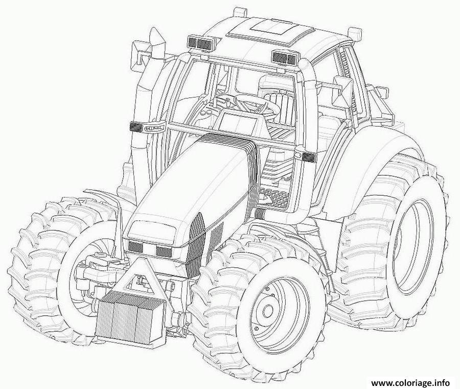 Coloriage Grand Tracteur Complexe Adulte dessin