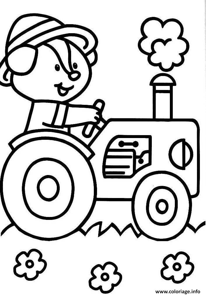 Coloriage tracteur avec un animal dessin - Imprimer dessin enfant ...